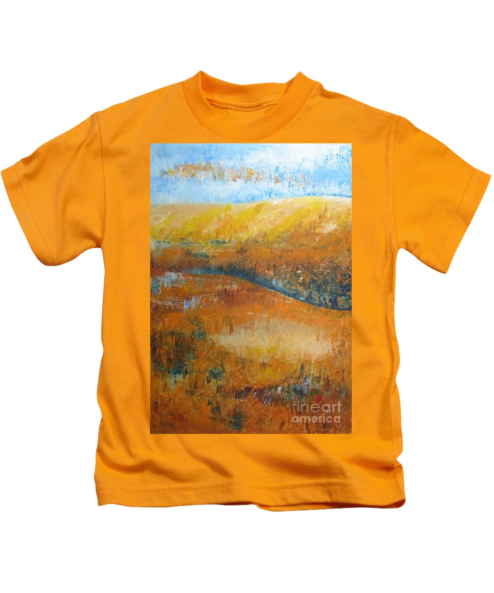 Landscape Kids T-Shirt featuring the painting Land Of Richness by Stella Velka
