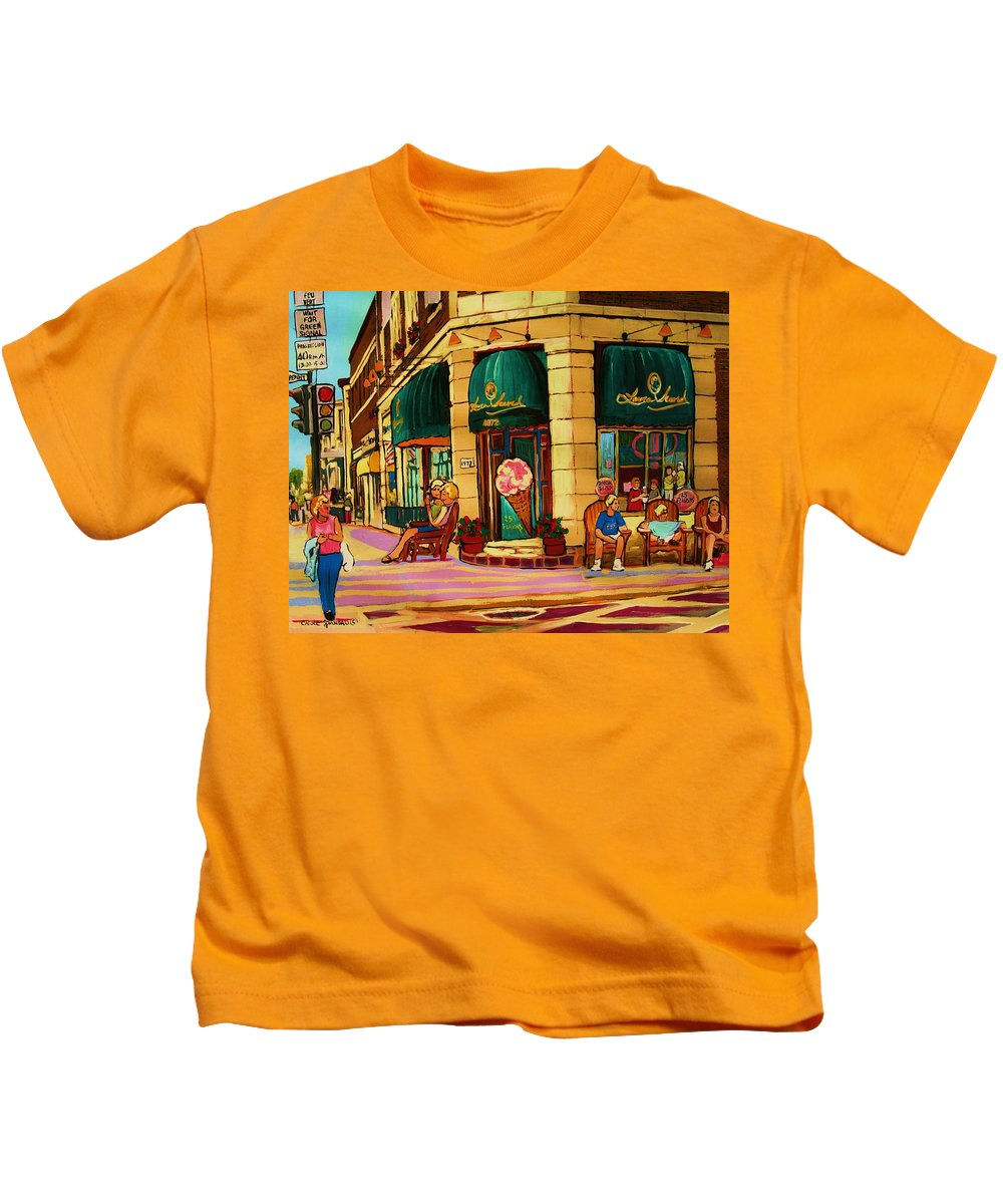 Montreal Streetscenes Kids T-Shirt featuring the painting Laura Secord Candy And Cone Shop by Carole Spandau