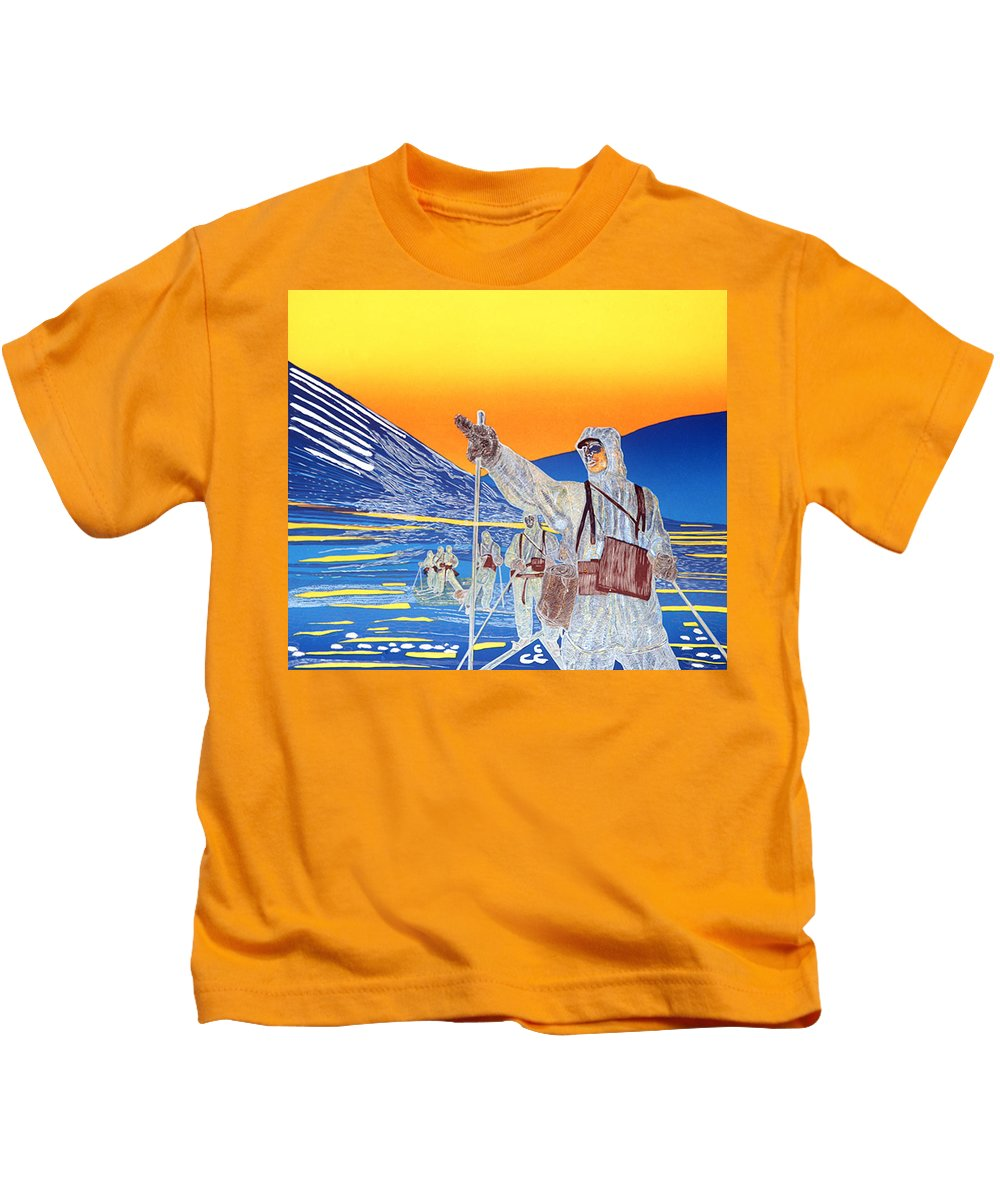 Landscape Kids T-Shirt featuring the mixed media Ledelse by Jarle Rosseland
