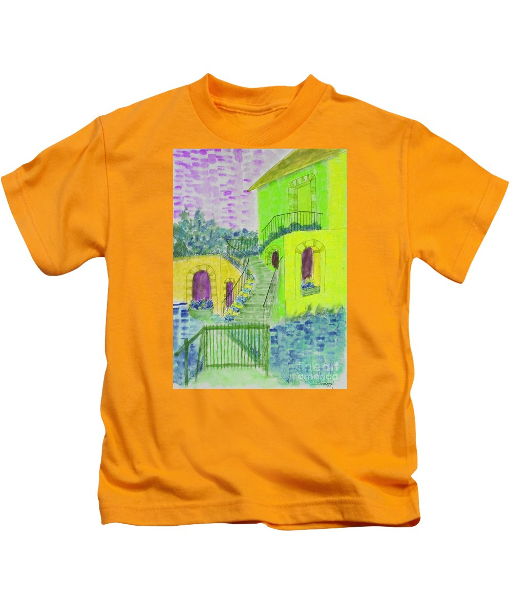 Architecture Kids T-Shirt featuring the painting Let Them Eat Cake Multicolor Yellow by Jayne Somogy