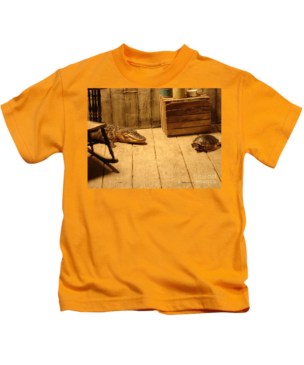 Turtle Kids T-Shirt featuring the photograph Lets Be Friends by Shelley Jones