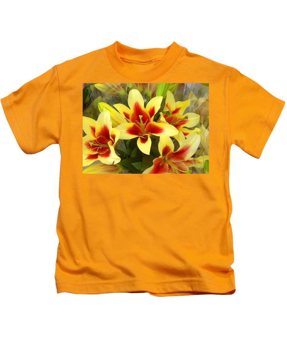 Spring Kids T-Shirt featuring the painting Lilies by Amy Vangsgard