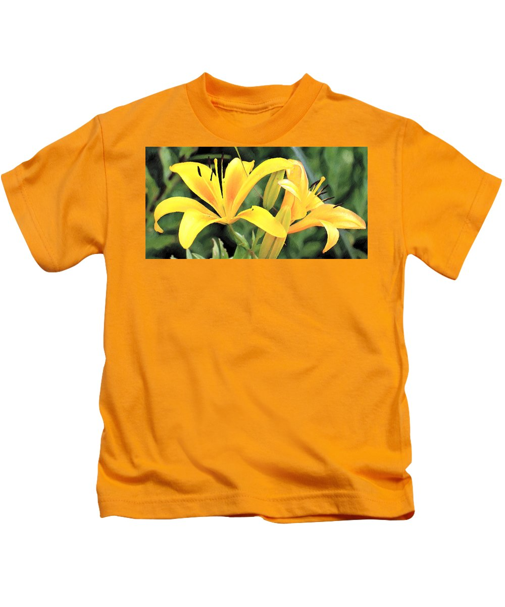Lily Kids T-Shirt featuring the painting Lily - Id 16217-152018-5631 by S Lurk