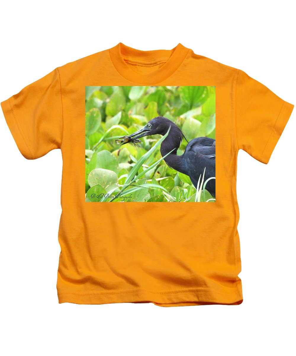 Little Blue Heron Kids T-Shirt featuring the photograph Little Blue Heron Catches A Frog by Barbara Bowen