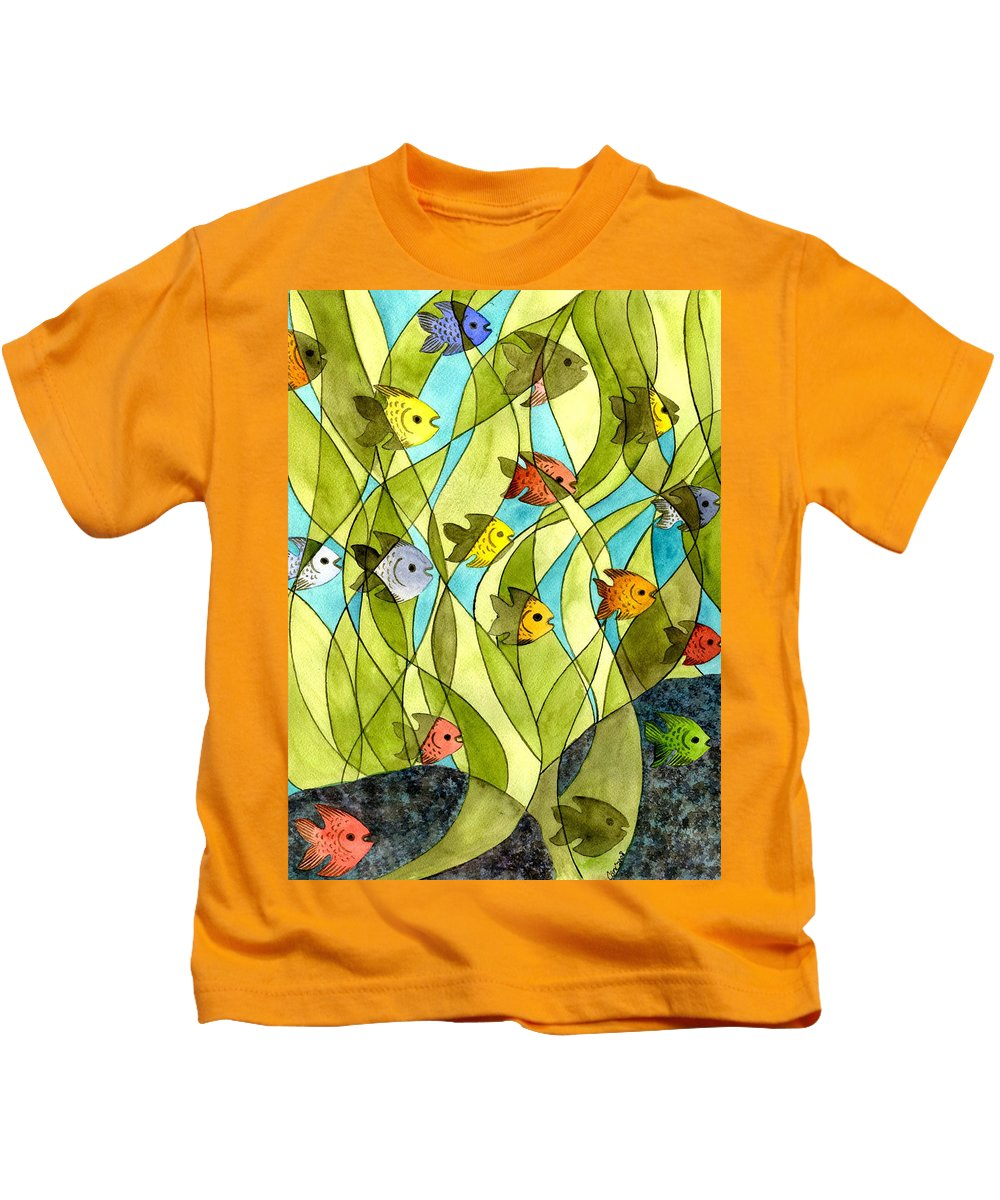 Fish Kids T-Shirt featuring the painting Little Fish Big Pond by Catherine G McElroy