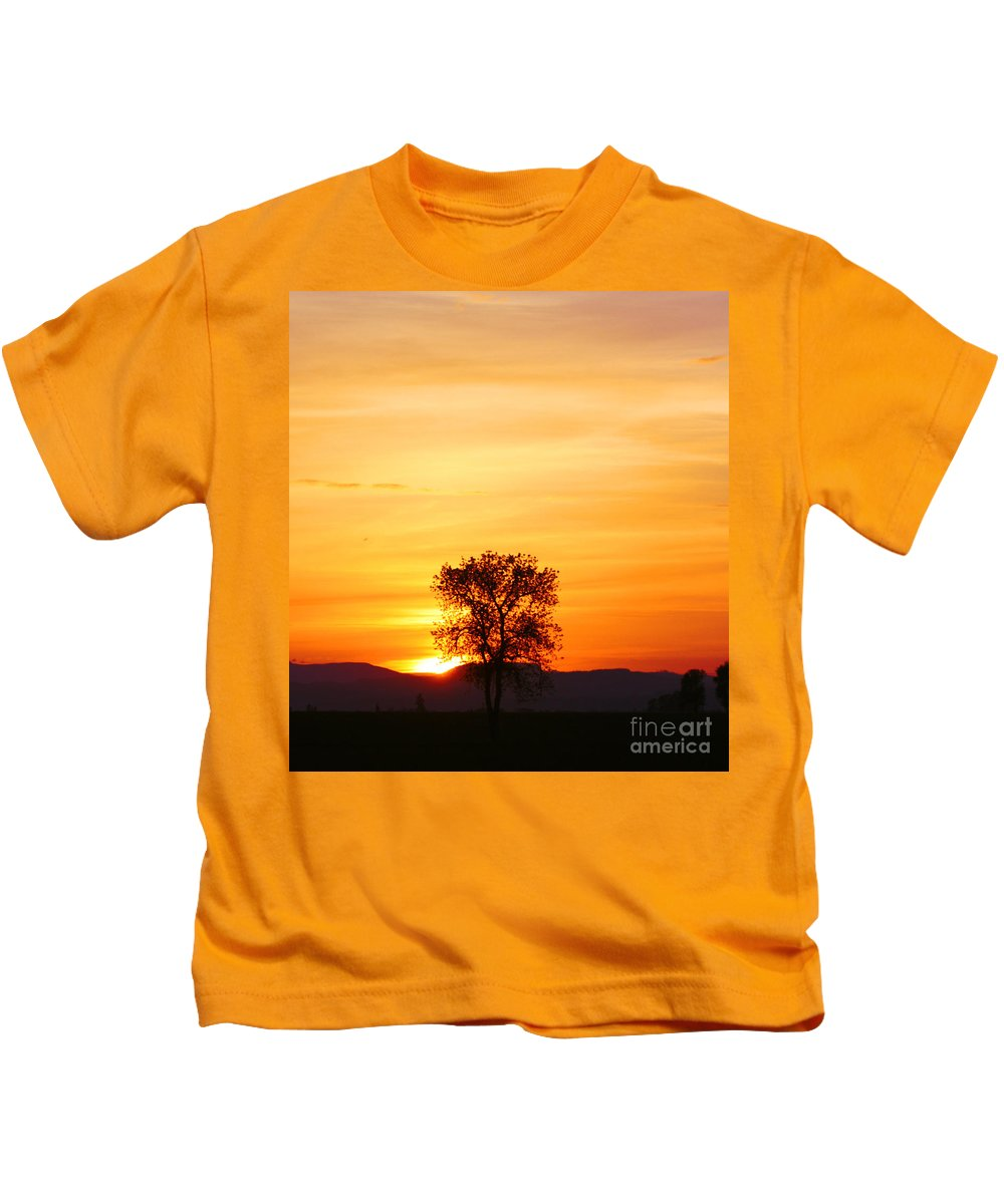 Tree Kids T-Shirt featuring the photograph Lone Tree Sunset by Nick Gustafson