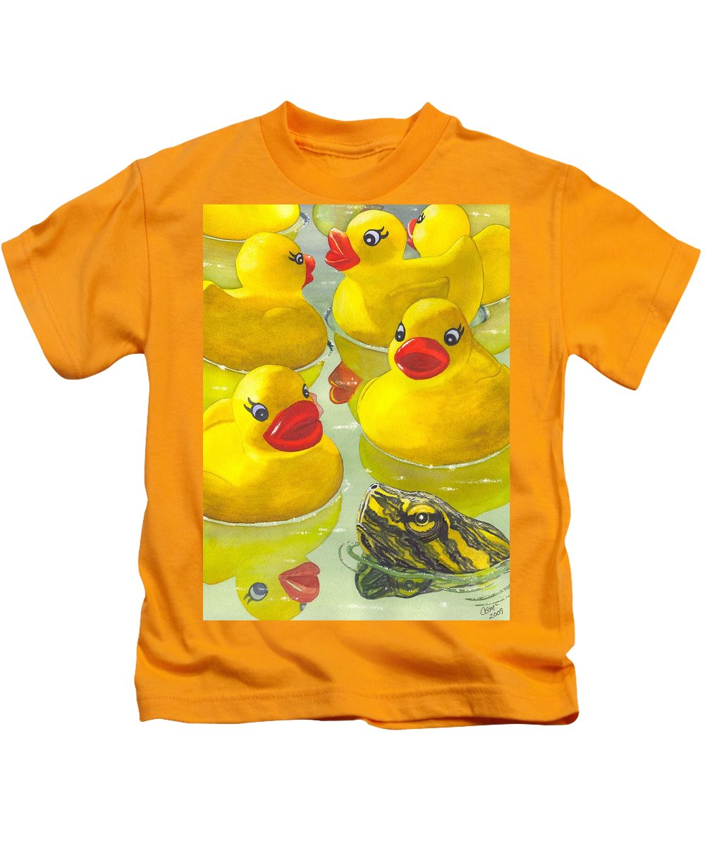 Ducky Kids T-Shirt featuring the painting Look Its A Turtle Head by Catherine G McElroy