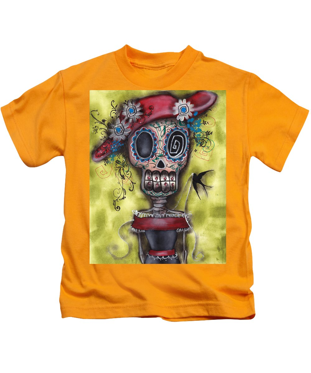 Day Of The Dead Paintings Kids T-Shirt featuring the painting Looking For Love by Abril Andrade Griffith