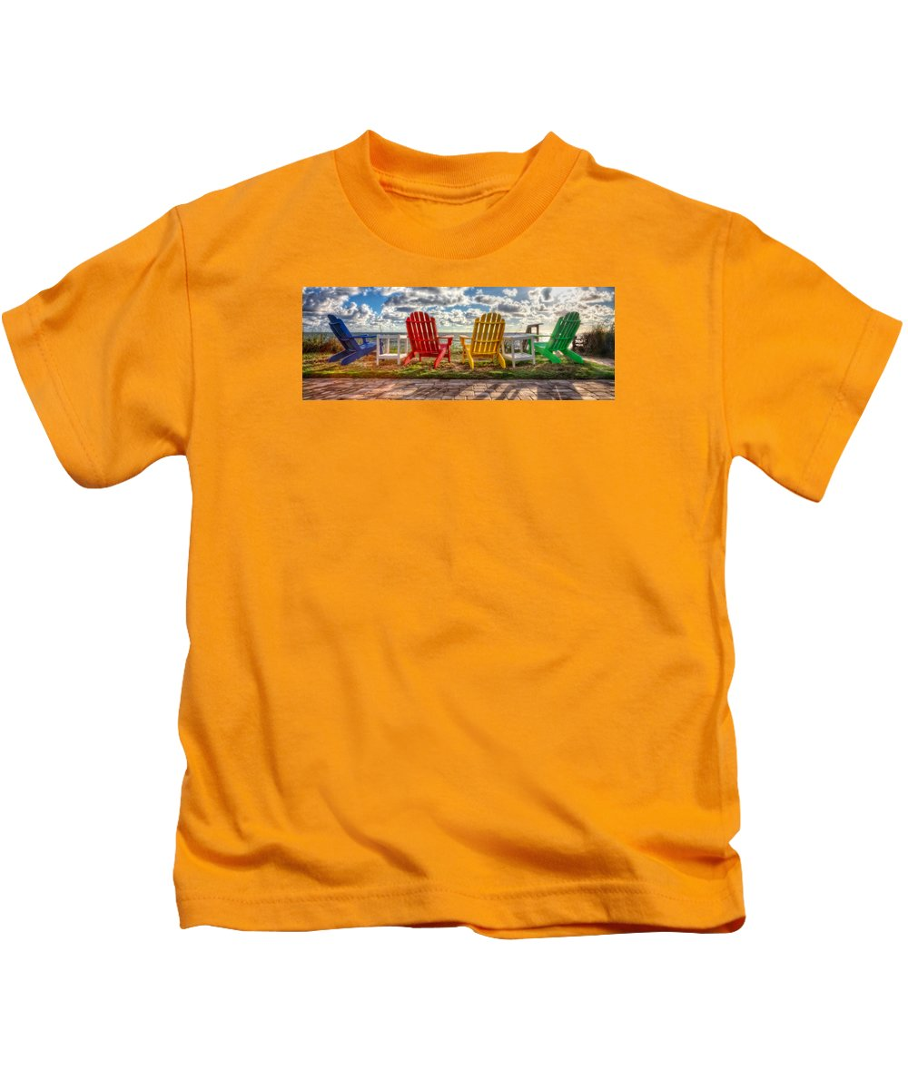 Clouds Kids T-Shirt featuring the photograph Lounging Around by Debra and Dave Vanderlaan