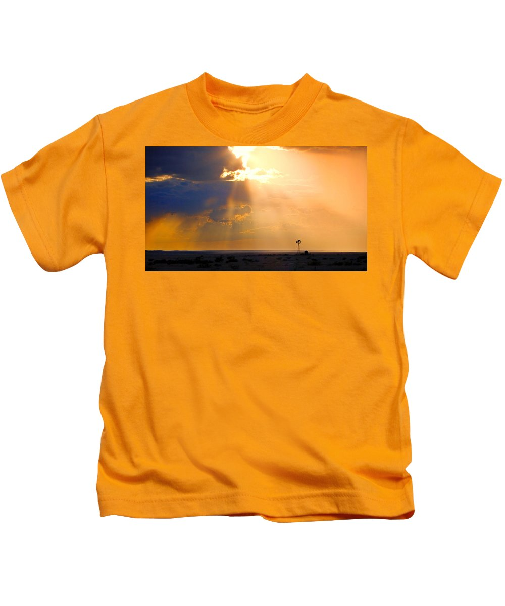 Skip Hunt Kids T-Shirt featuring the photograph Marfa Windmill 1 by Skip Hunt