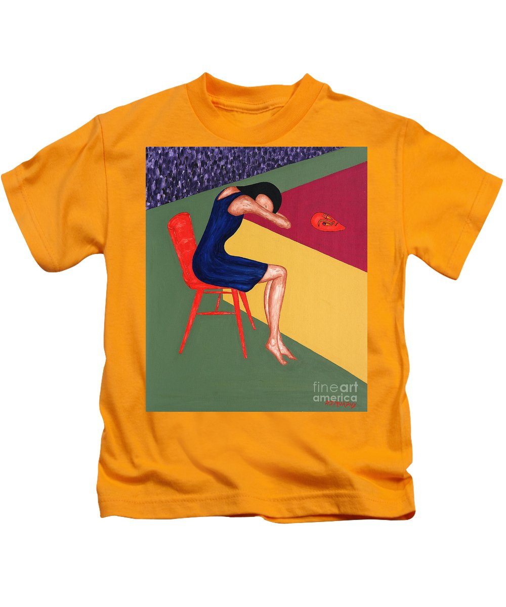 Mask Kids T-Shirt featuring the painting Mask by Patrick J Murphy