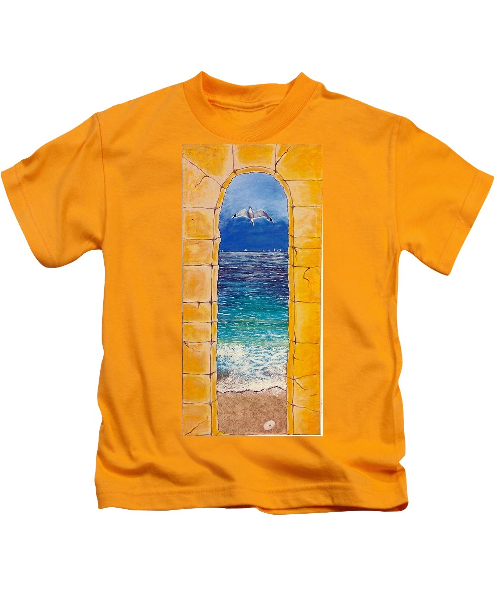 Beach Kids T-Shirt featuring the painting Mediterranean Meditation by V Boge
