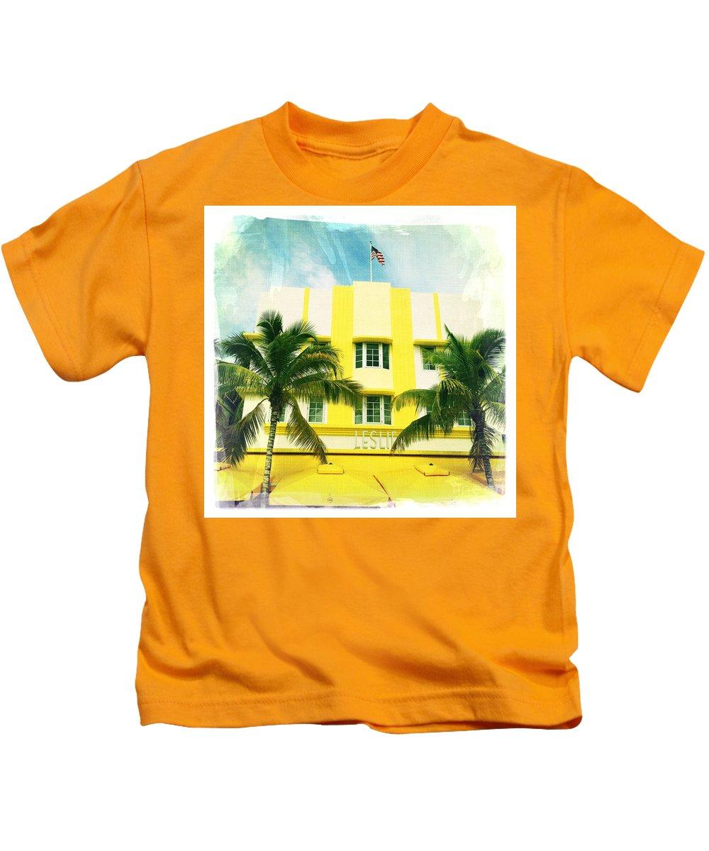 Miami South Beach Ocean Drive 2 Kids T-Shirt featuring the photograph Miami South Beach Ocean Drive 2 by Nina Prommer