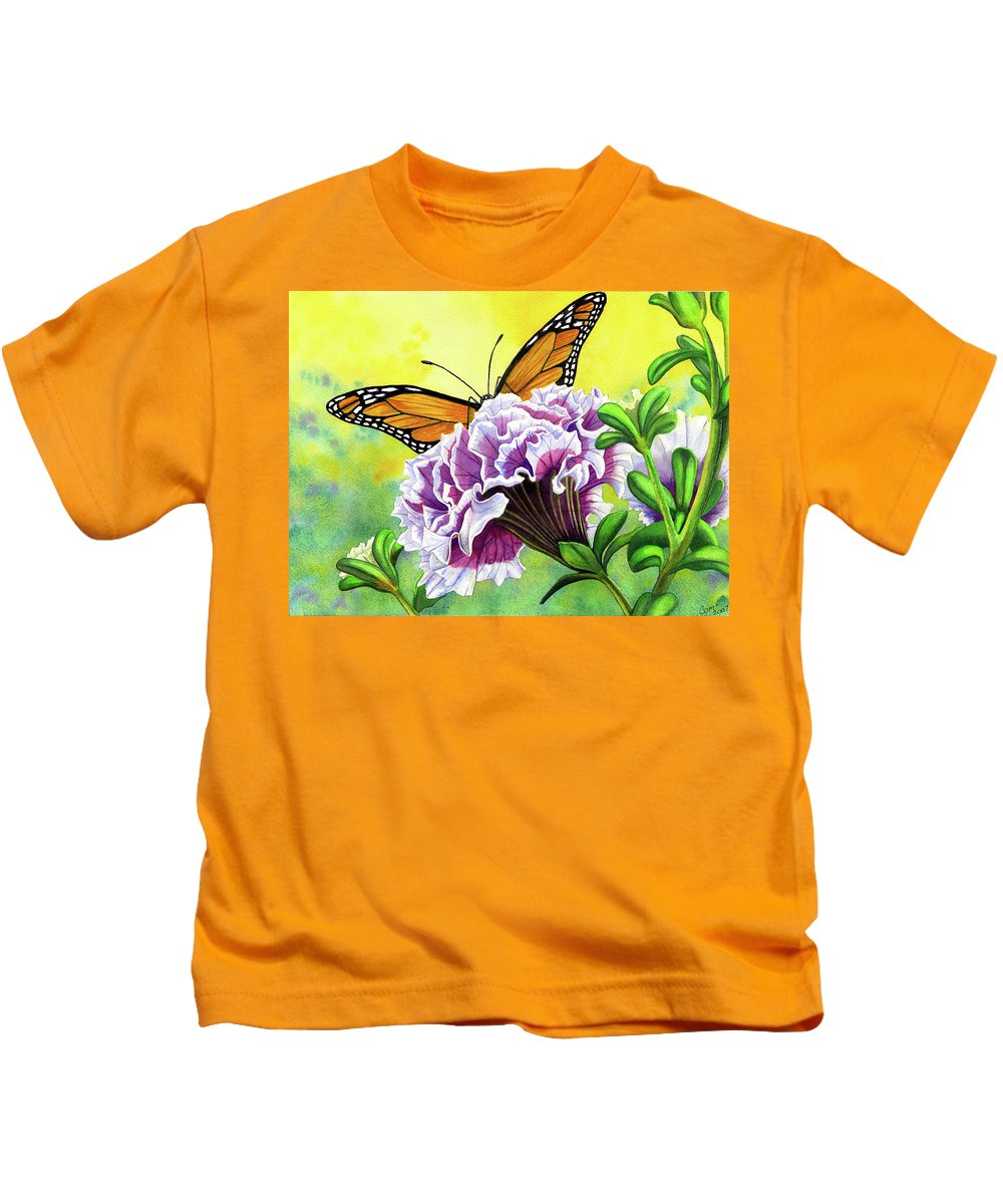 Monarch Kids T-Shirt featuring the painting Monarch by Catherine G McElroy