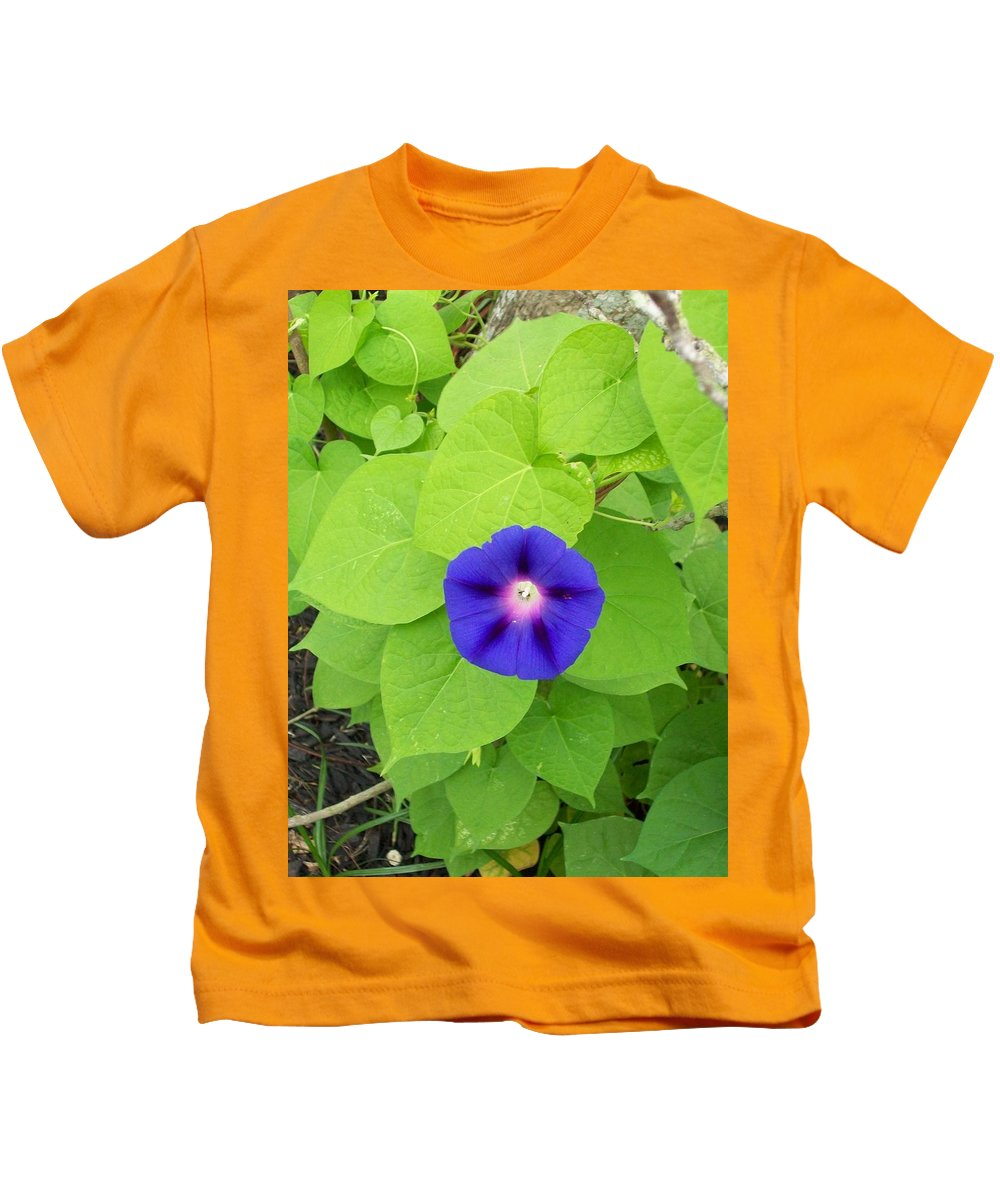 Blue Kids T-Shirt featuring the photograph Morning Glory by Laurette Escobar