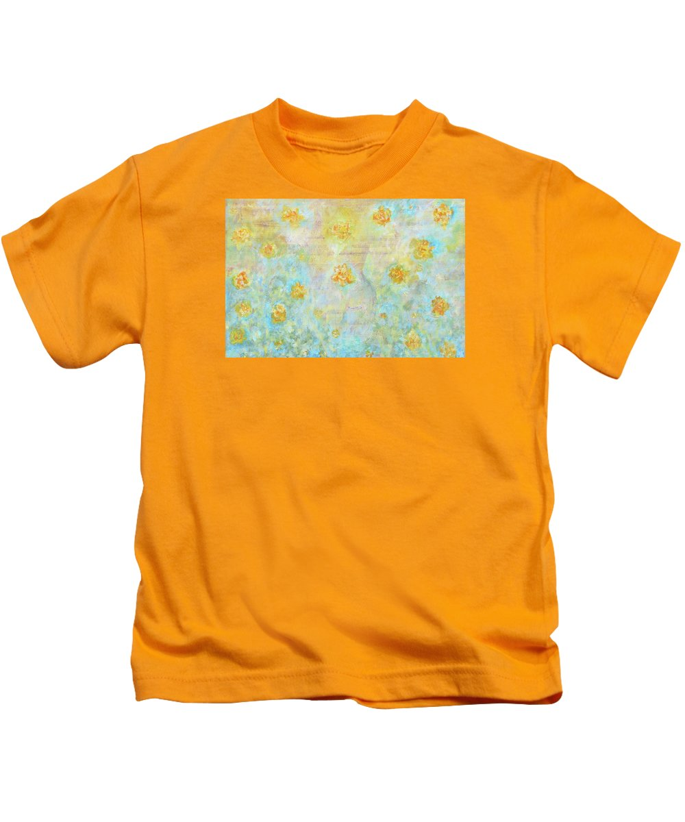Landscape Kids T-Shirt featuring the painting Morning Spring by Ishwar Malleret