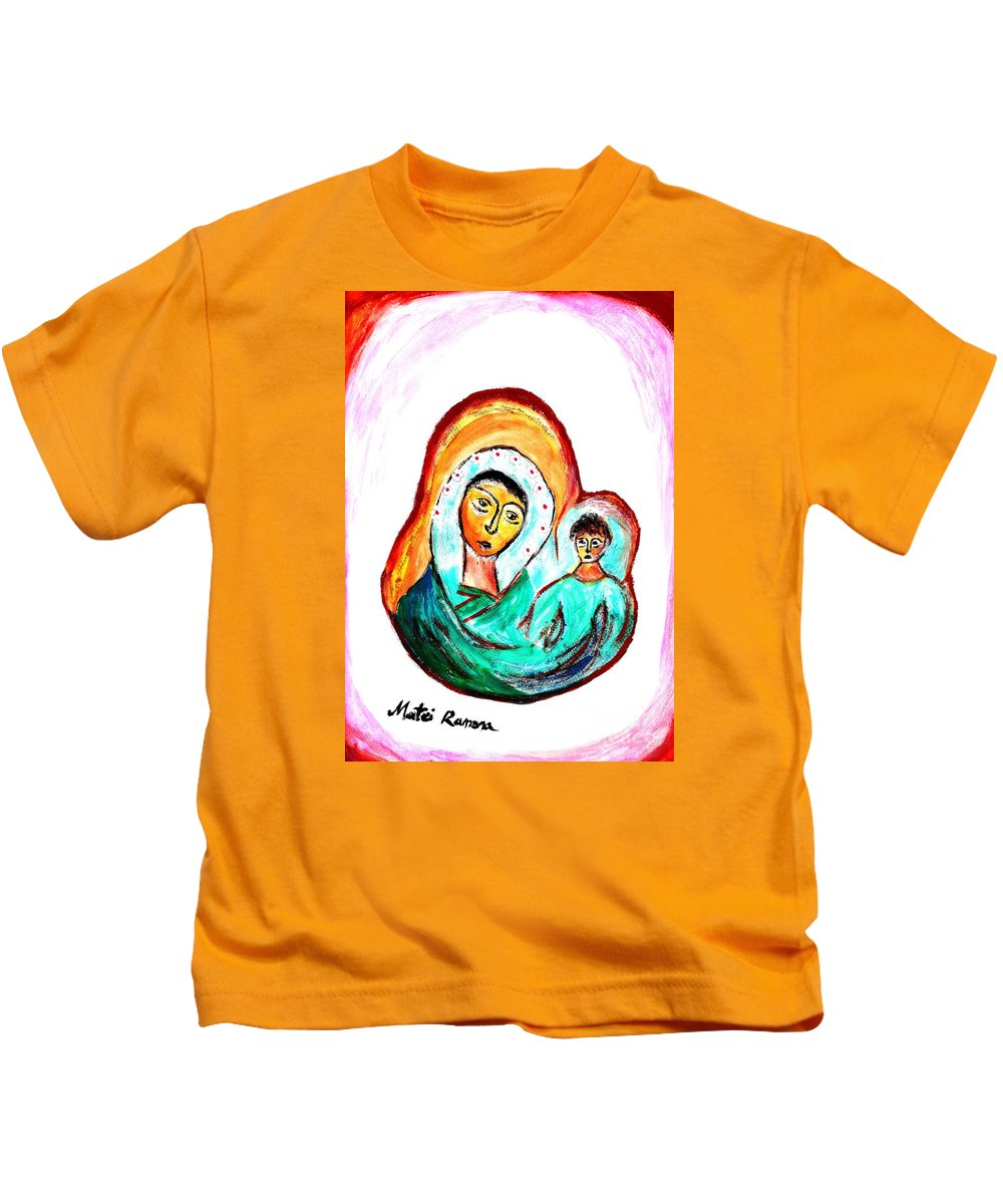 Mother Kids T-Shirt featuring the painting Mother And Child by Ramona Matei