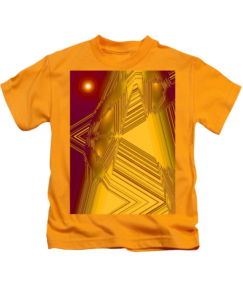 Moveonart! Digital Gallery Kids T-Shirt featuring the digital art Moveonart Other Worlds Four by Jacob Kanduch