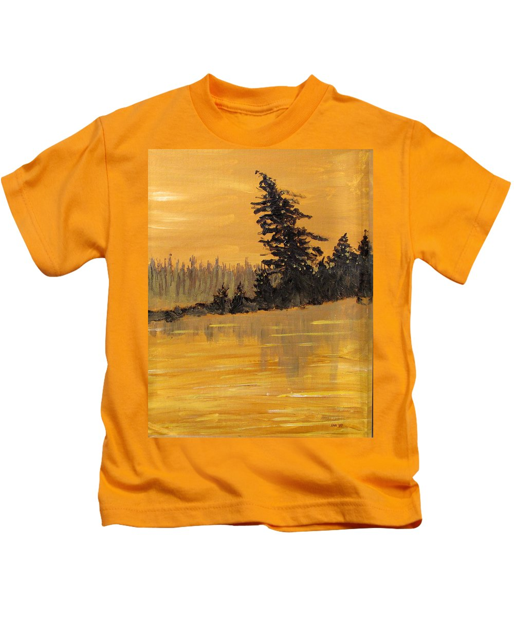 Northern Ontario Kids T-Shirt featuring the painting Northern Ontario Three by Ian MacDonald
