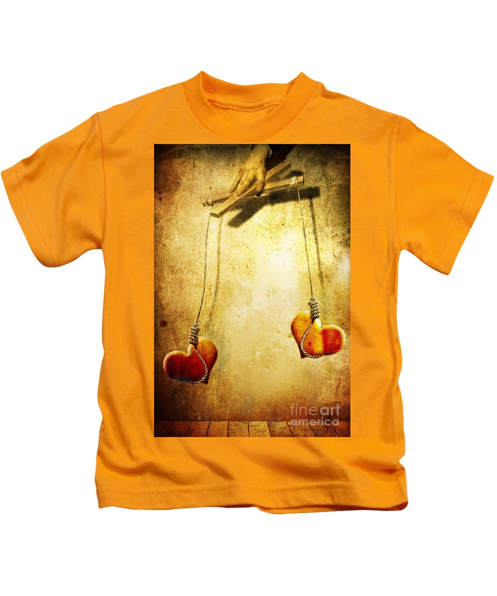 Puppeteer Kids T-Shirt featuring the painting Not Meant To Be... by Jacky Gerritsen