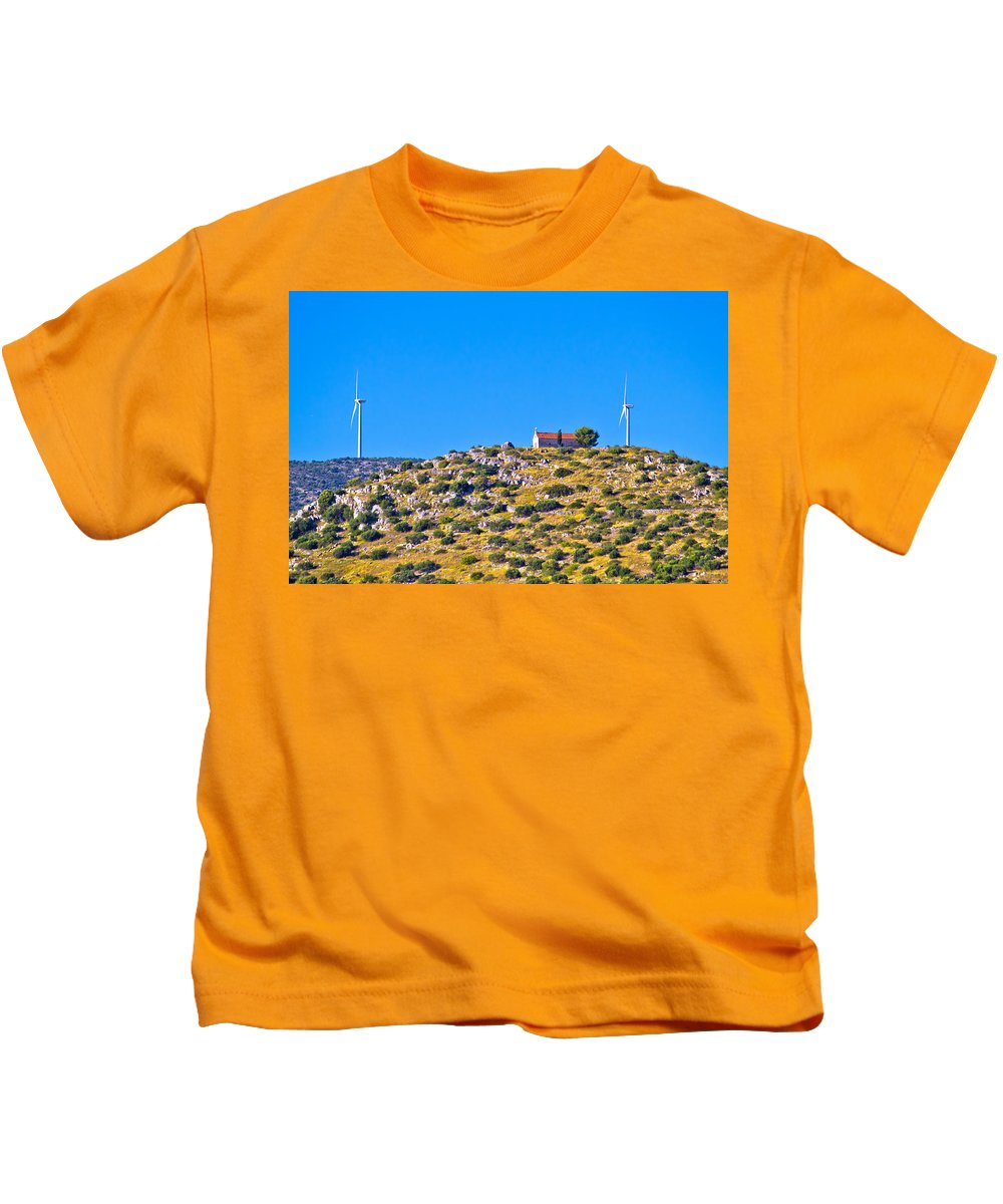 Hill Kids T-Shirt featuring the photograph Old Stone Church And Green Energy Plant by Brch Photography