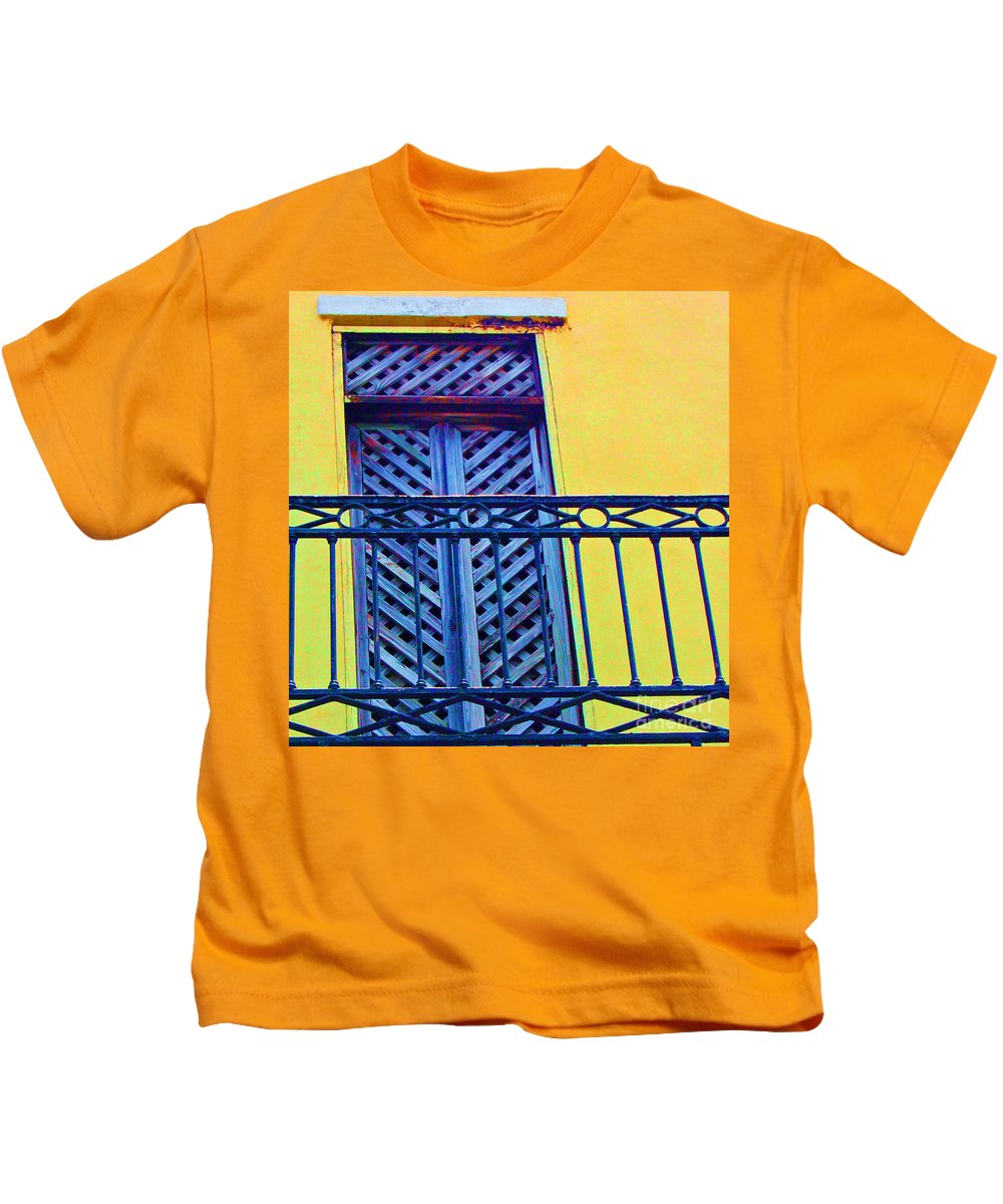 Balcony Kids T-Shirt featuring the photograph On The Balcony by Debbi Granruth