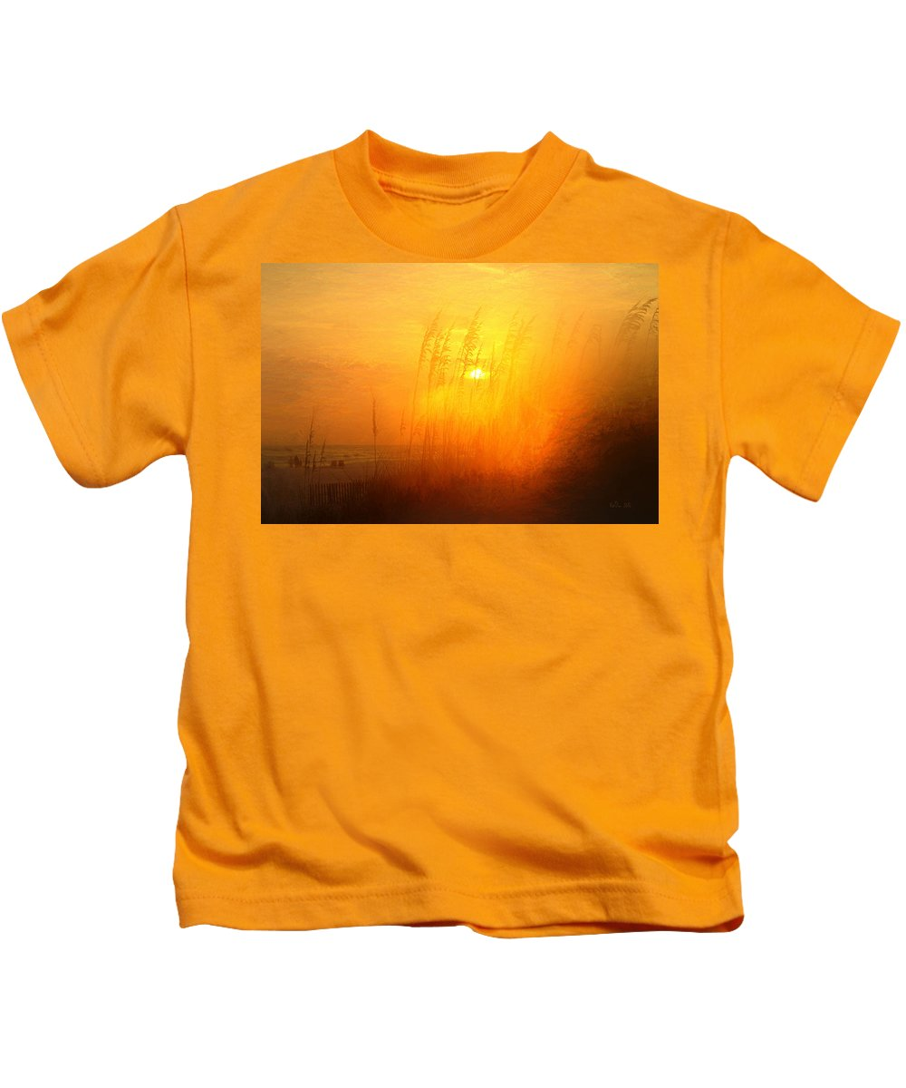 Sunset Beach Kids T-Shirt featuring the photograph Orange Beach Sunset by Marty Malliton