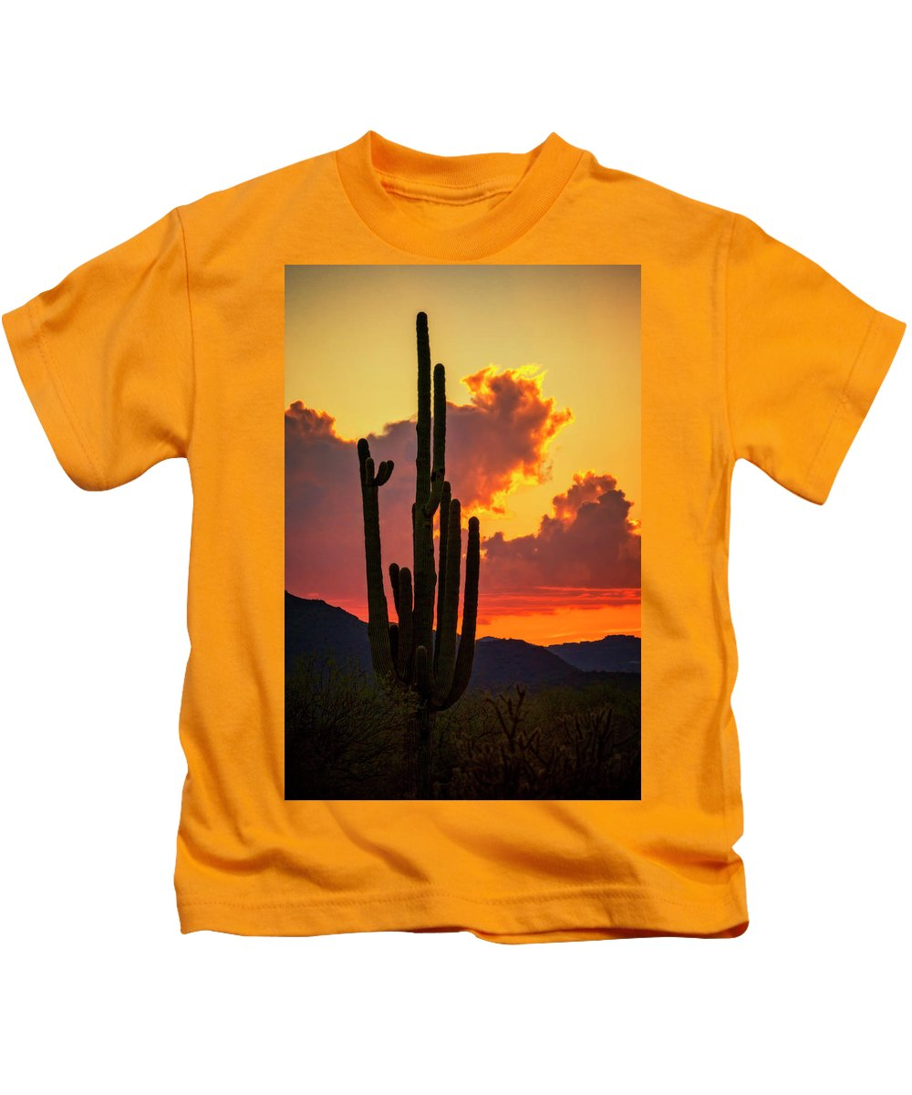 Saguaro Sunset Kids T-Shirt featuring the photograph Orange Beautiful Sunset by Saija Lehtonen