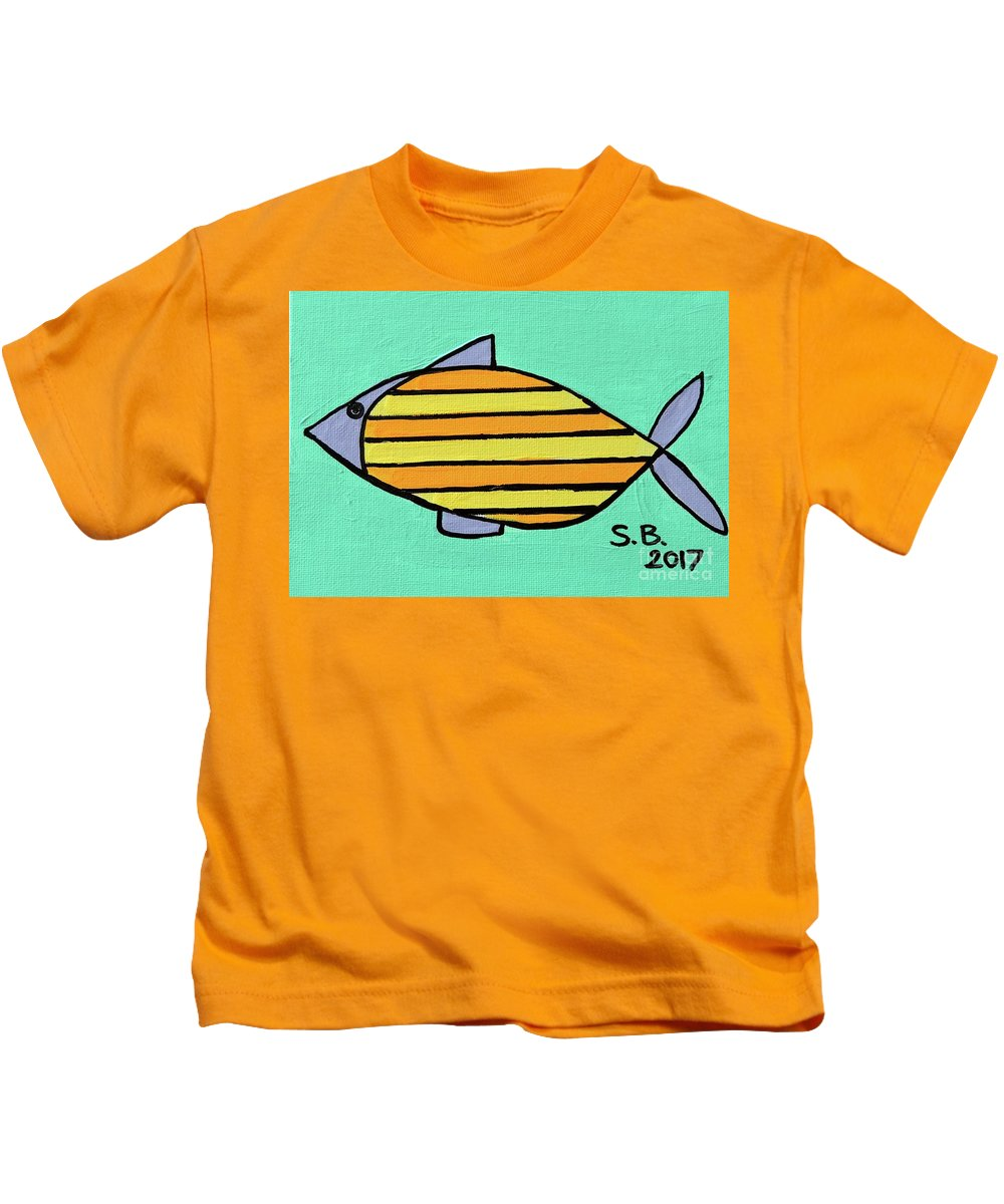 Fish Kids T-Shirt featuring the painting Orange Stripes by Sean Brushingham