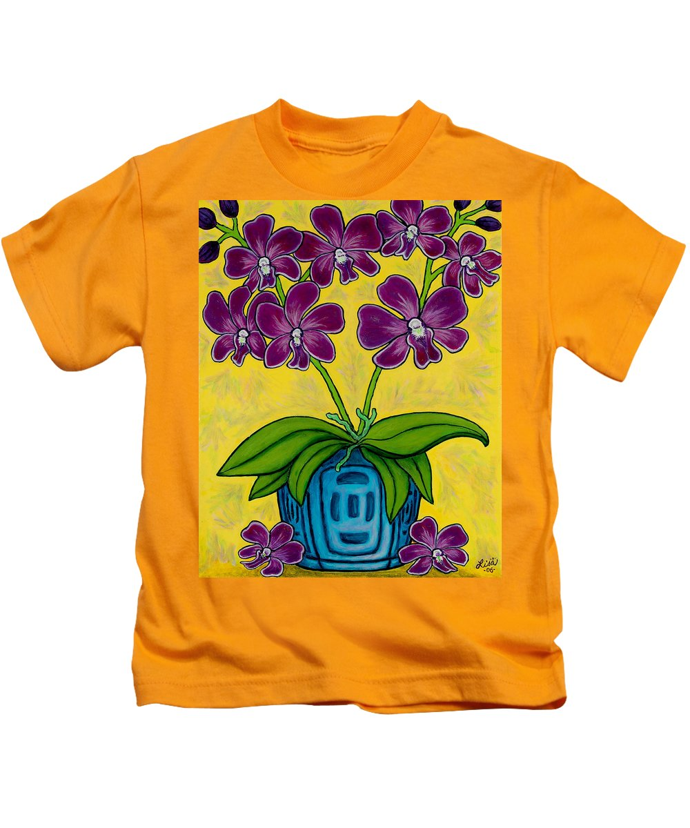 Orchids Kids T-Shirt featuring the painting Orchid Delight by Lisa Lorenz