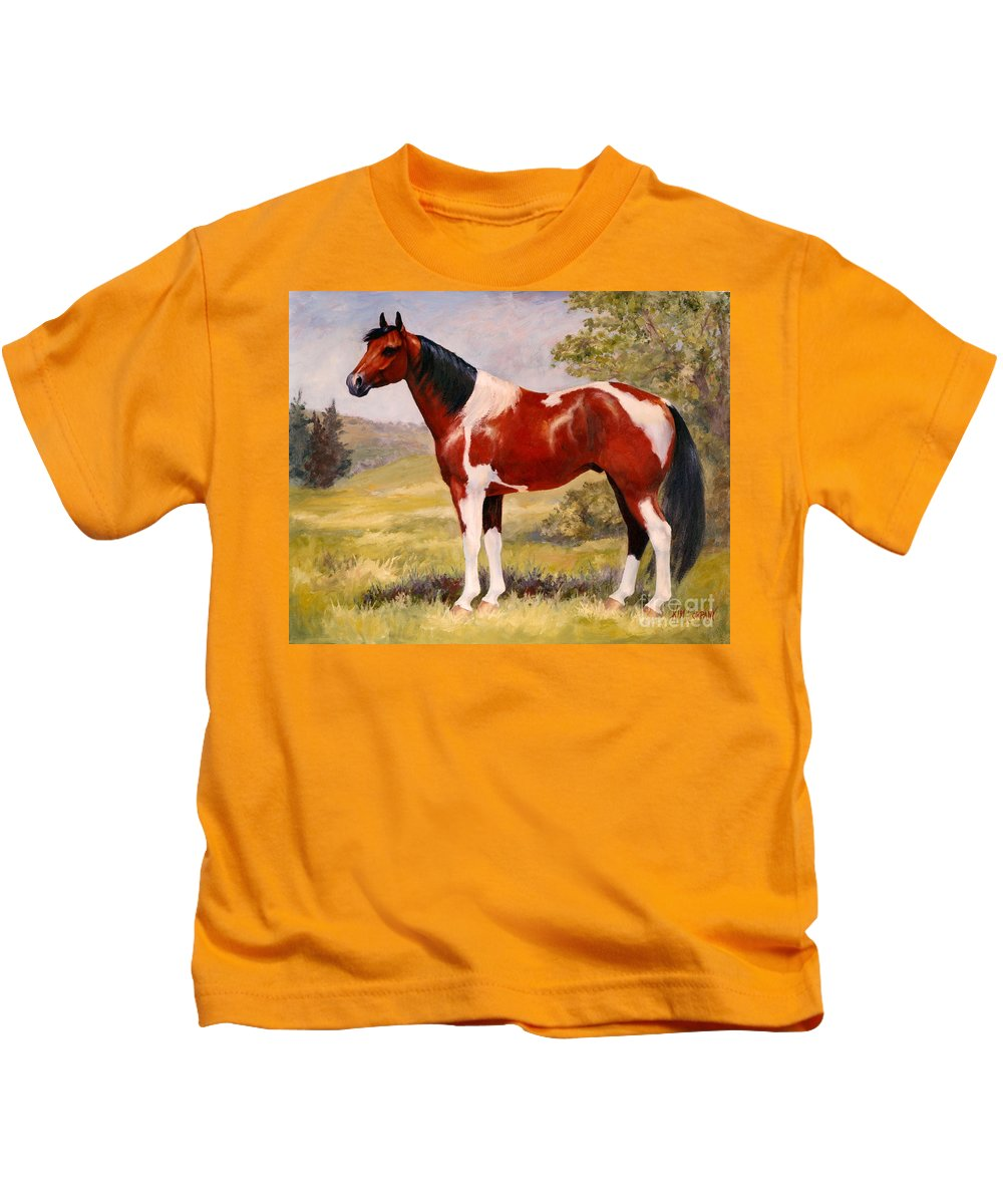 Paint Kids T-Shirt featuring the painting Paint Horse Gelding Portrait Oil Painting - Gizmo by Kim Corpany