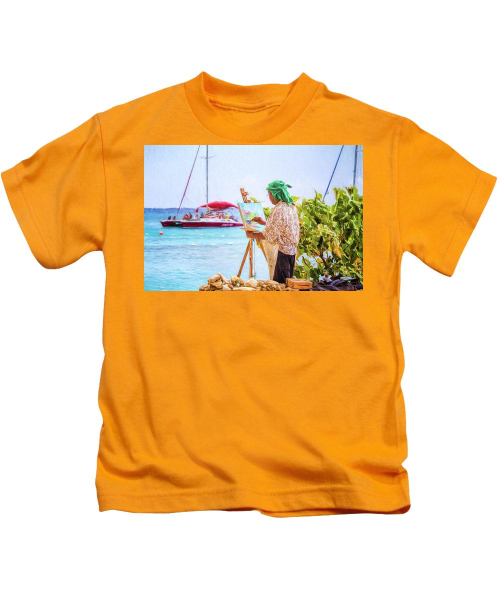 Barbados Kids T-Shirt featuring the photograph Painter At Work, Holetown Beach, Barbados by Eric Drumm