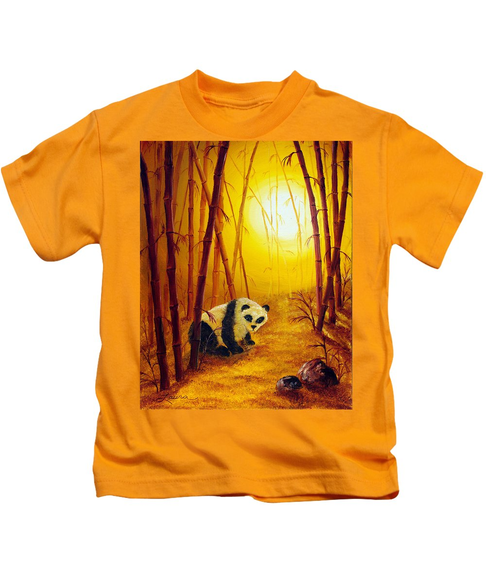 Zen Kids T-Shirt featuring the painting Panda In Sunset Bamboo by Laura Iverson