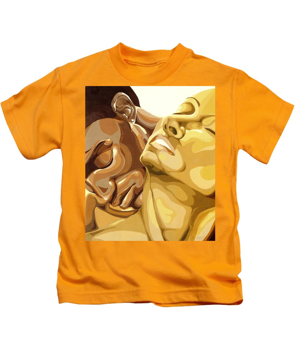 Figures Kids T-Shirt featuring the painting Passion by Lamark Crosby