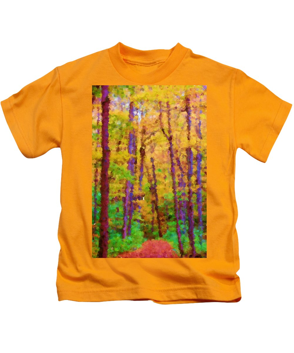 Digital Photograph Kids T-Shirt featuring the photograph Path In The Woods by David Lane