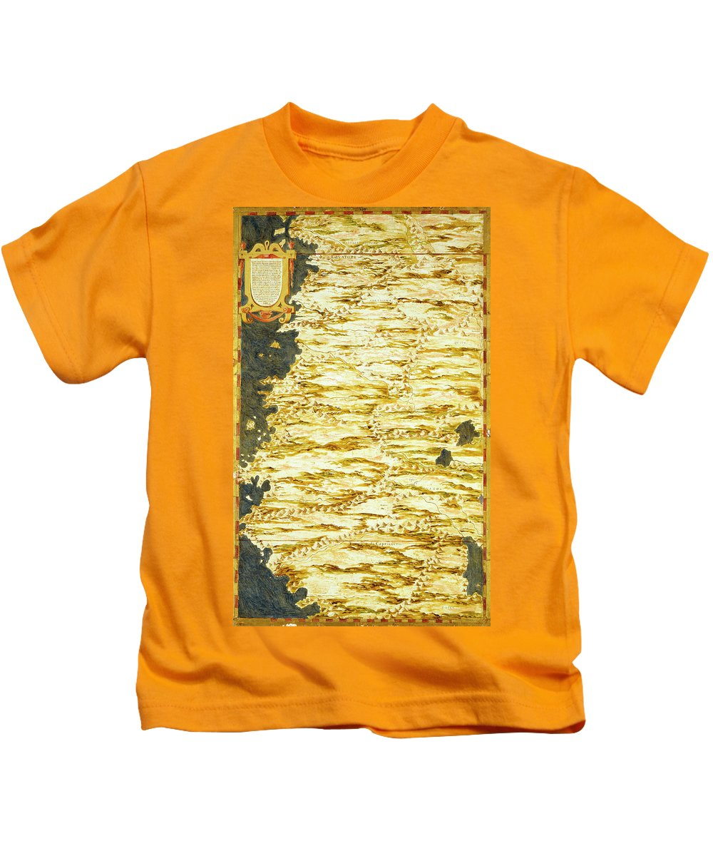 Map Kids T-Shirt featuring the painting Peru And Ecuador by Italian painter of the 16th century