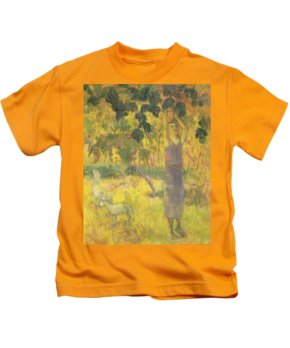Man Picking Fruit From A Tree Kids T-Shirt featuring the painting Picking Fruit From A Tree by Paul Gauguin