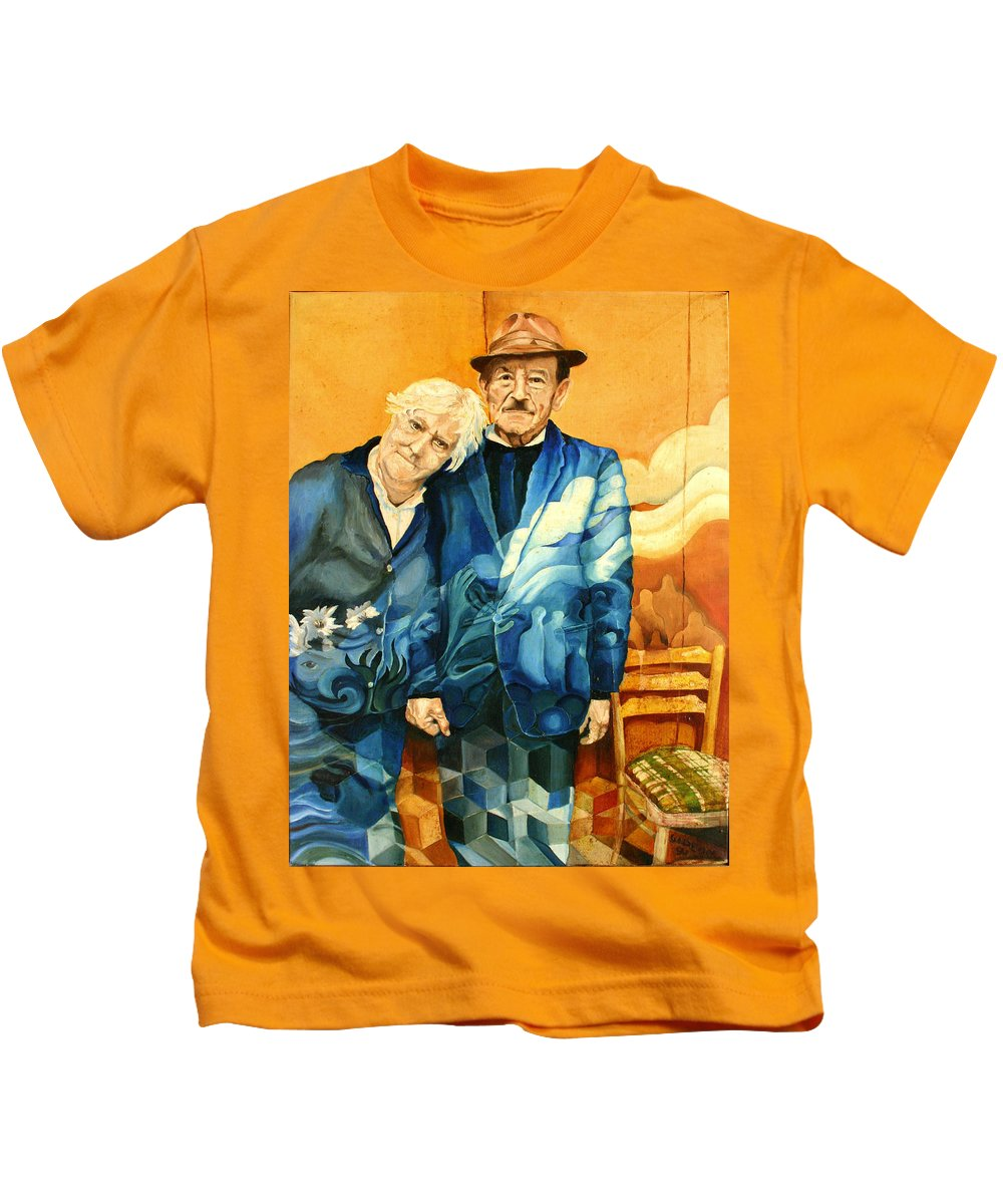 Drawing Kids T-Shirt featuring the painting Polish Immigrants by Gideon Cohn