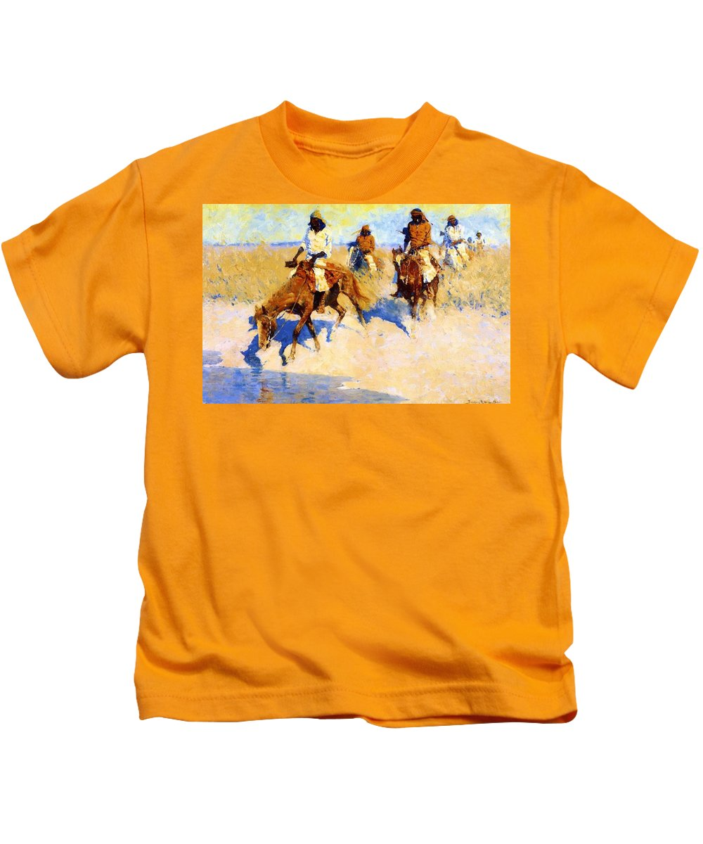 Pool Kids T-Shirt featuring the painting Pool In The Desert 1907 by Remington Frederic