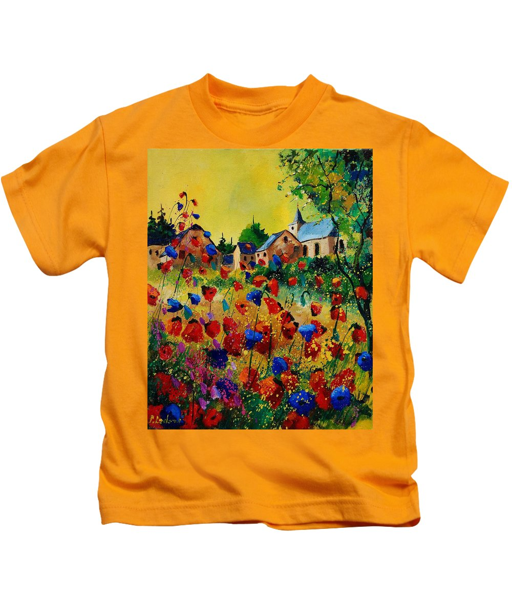 Flowers Kids T-Shirt featuring the painting Poppies Sosoye by Pol Ledent