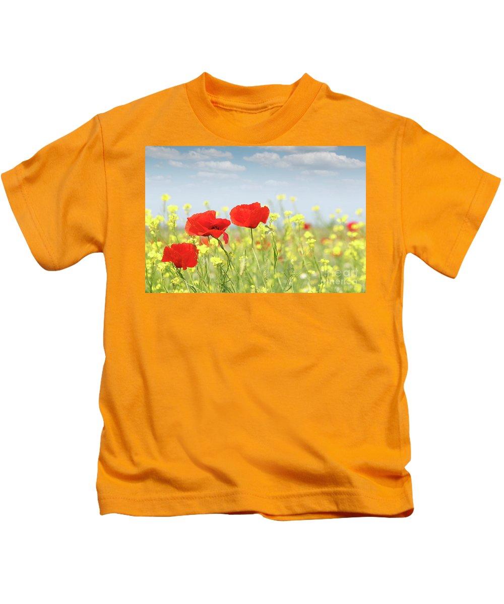 Poppy Kids T-Shirt featuring the photograph Poppy Flowers Nature Spring Scene by Goce Risteski