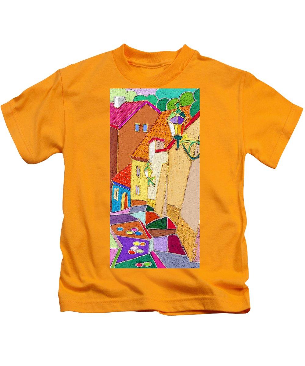 Pastel Kids T-Shirt featuring the painting Prague Old Street Ceminska Novy Svet by Yuriy Shevchuk