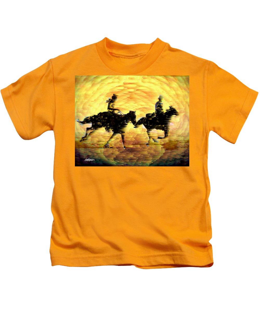 Race Across The Desert Kids T-Shirt featuring the digital art Race Across the Desert by Seth Weaver
