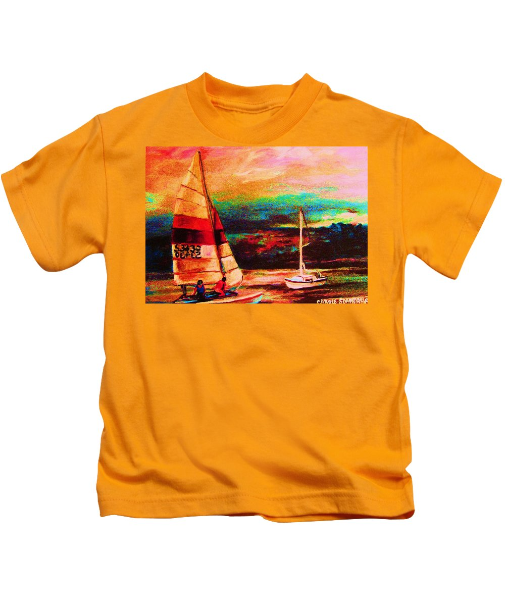 Sailing Kids T-Shirt featuring the painting Red Sails In The Sunset by Carole Spandau