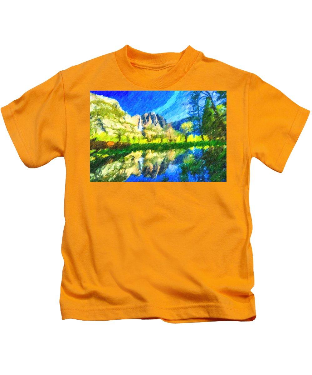 Reflection-in-merced-river Kids T-Shirt featuring the painting Reflection In Merced River Of Yosemite Waterfalls by Jeelan Clark