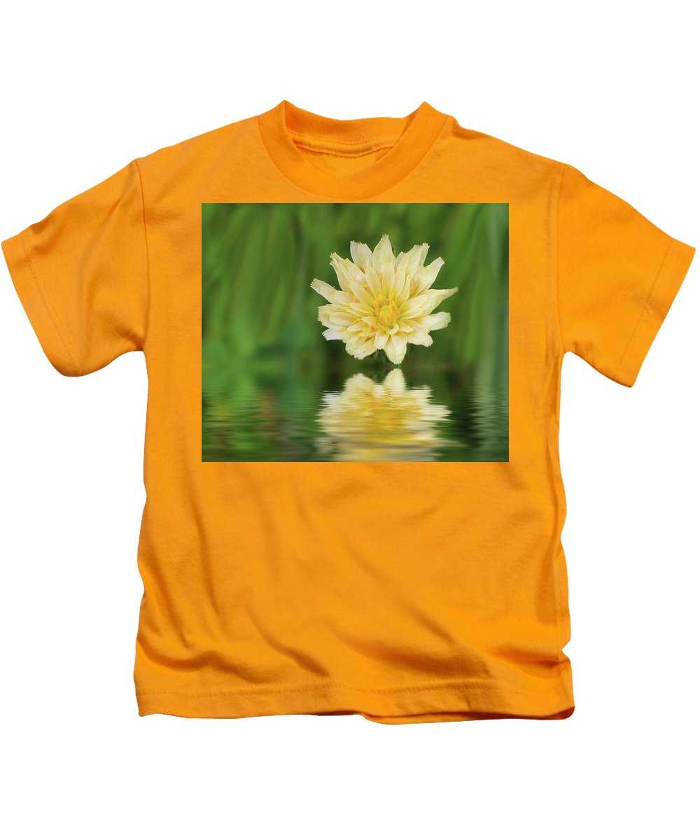 Wildflower Kids T-Shirt featuring the photograph Reflection In Yellow by Erin Donalson