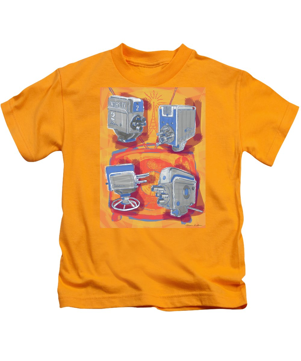 Cameras Kids T-Shirt featuring the painting Remembering Television by Alison Stein