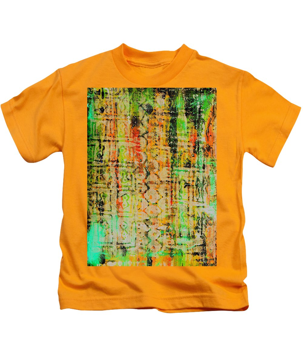 Monoprint Kids T-Shirt featuring the painting Remnants Of The Homeland by Wayne Potrafka