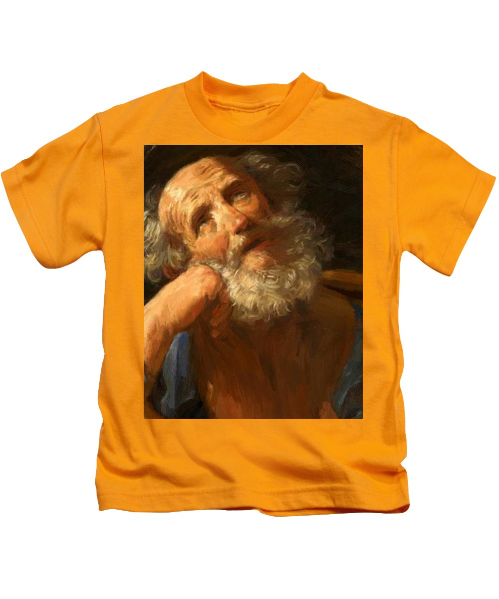 Repentant Kids T-Shirt featuring the painting Repentant Peter 1637 by Reni Guido