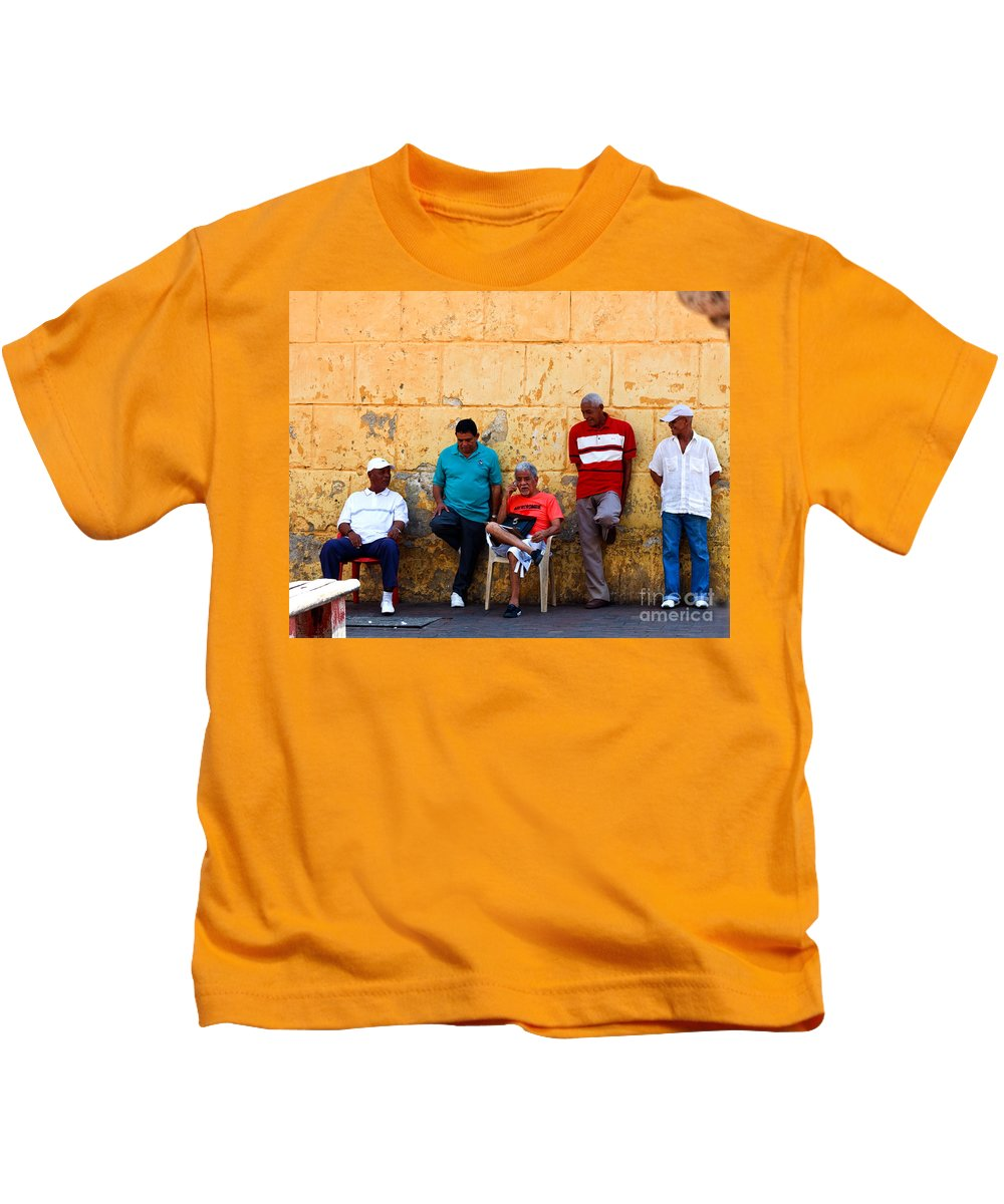 Senior Kids T-Shirt featuring the photograph Retired Men And Yellow Wall Cartegena by Thomas Marchessault